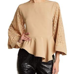 Gracia camel peplum blouse